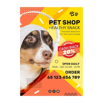 Szablon plakatu żywności dla zwierząt
