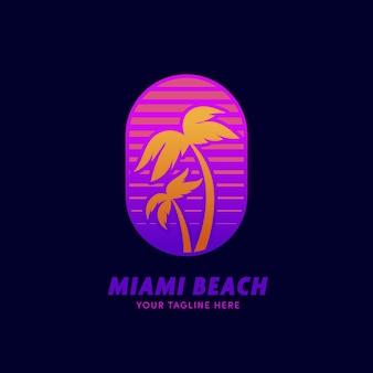 Szablon plakietki z logo plaży palmowej w stylu retro neon z lat 80-tych w miami