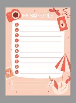 Szablon planera tygodniowego i dziennego harmonogram z notatkami i listą rzeczy do zrobienia z letnimi przedmiotami
