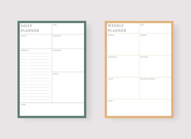 Szablon planowania dziennego i tygodniowego zestaw terminarza i listy zadań zestaw nowoczesnych szablonów terminarza