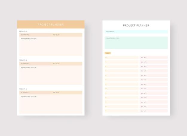Szablon planowania projektu zestaw planera i listy zadań