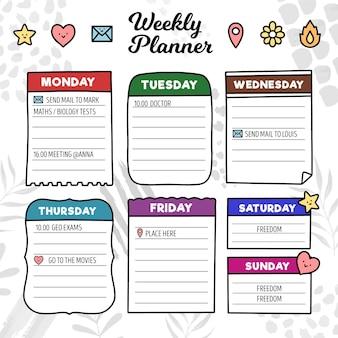 Szablon planowania tygodniowego dziennika punktorów