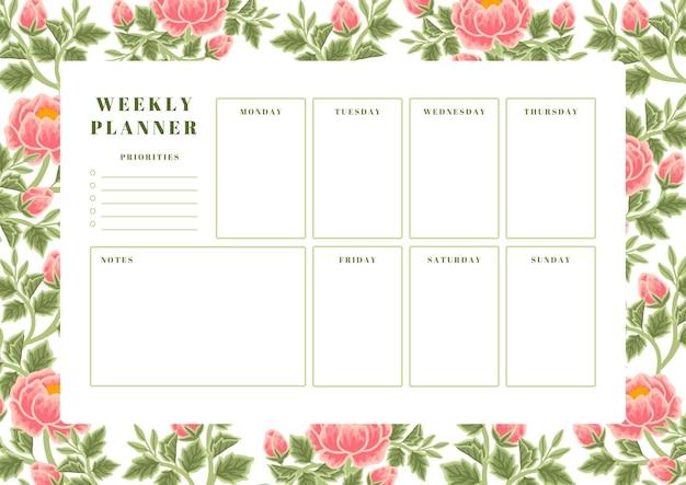 Szablon planowania tygodniowego kwiatu piwonii vintage summer & spring
