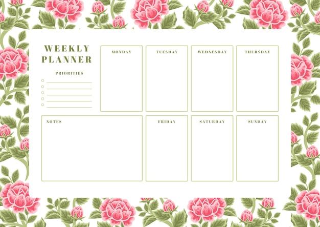 Szablon planowania tygodniowego kwiatu róży w stylu vintage