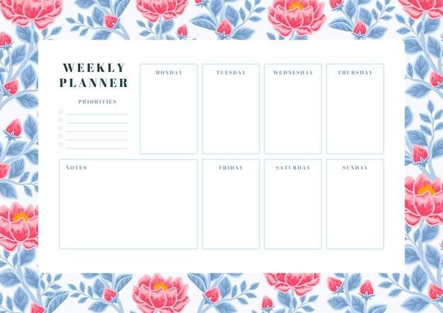 Szablon planowania tygodniowego rocznika czerwonej piwonii i niebieskiego liścia
