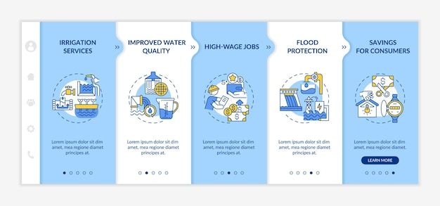 Szablon plansza energii wodnej. źródła energii elektrycznej i magazyn elementów projektu prezentacji. wizualizacja danych 5 kroków. wykres osi czasu procesu. układ przepływu pracy z liniowym s