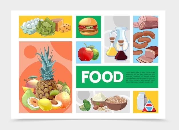 Szablon plansza kolorowe jedzenie kreskówka