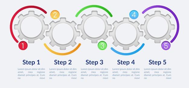 Szablon plansza kolorowe koła zębate. elementy projektu prezentacji puste koła z miejsca na tekst. wizualizacja danych w 5 krokach. wykres osi czasu procesu.