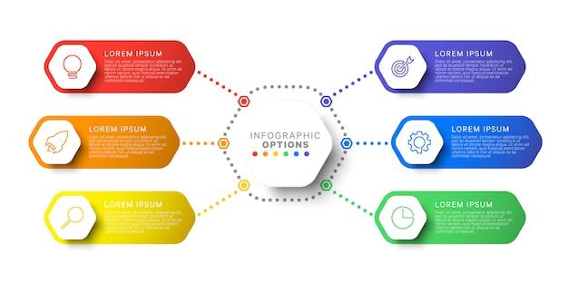 Szablon plansza prosty sześć kroków układ z sześciokątnymi elementami. schemat procesu biznesowego dla broszury, baneru, raportu rocznego i prezentacji