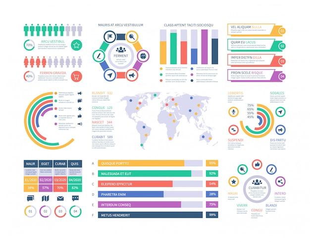 Szablon plansza. wykresy inwestycji finansowych, schemat organizacyjny schematów kolumnowych. element infografiki prezentacji