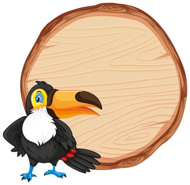 Szablon planszy z ładny ptak tukan na białym tle