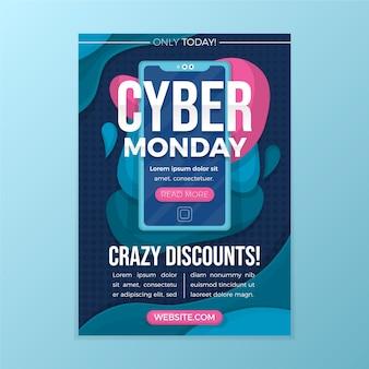 Szablon płaski cyber poniedziałek szablon ulotki
