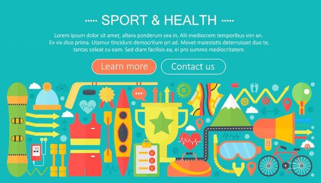 Szablon płaski infografiki sportu i fitness