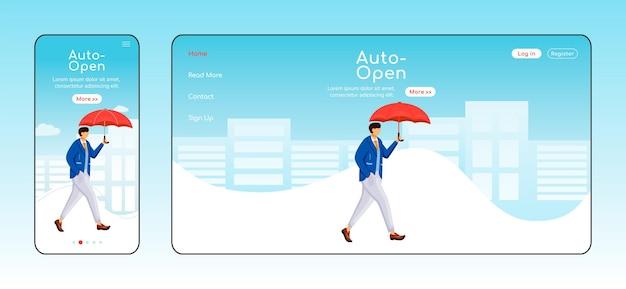 Szablon płaski kolor strony docelowej automatycznego otwierania parasola. wyświetlacz mobilny. mężczyzna w układzie strony głównej kurtki. jednostronicowy interfejs strony internetowej w deszczową pogodę, postać z kreskówki. zwiedzanie strony internetowej kaukaski facet