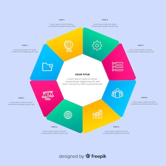 Szablon płaski kolorowy gradientu infographic