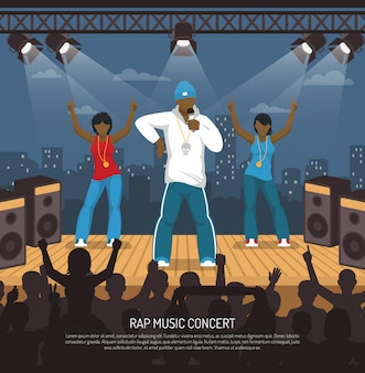 Szablon płaski koncert muzyki rap