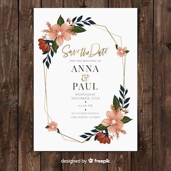 Szablon płaski kwiatowy wesele karty