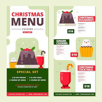 Szablon płaski menu świąteczne