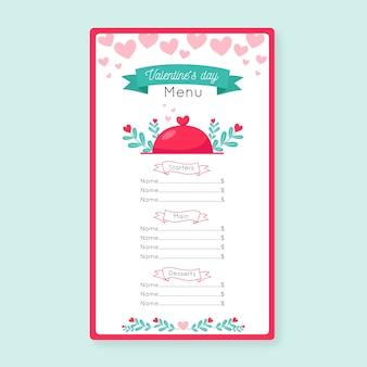Szablon płaski menu walentynki