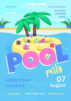Szablon płaski plakat party basen. impreza na basenie dla dorosłych, studentów