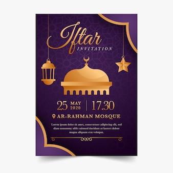 Szablon płaski projekt zaproszenia iftar