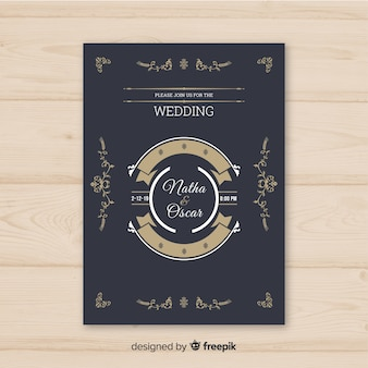 Szablon płaski ślub karty