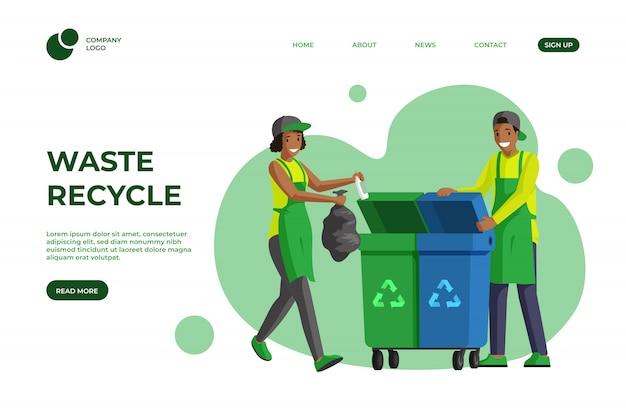 Szablon płaski strony docelowej recyklingu śmieci. redukcja śmieci, gospodarka odpadami, zrównoważony styl życia, projektowanie stron internetowych. ochotnicze sprzątanie, sortowanie odpadów, układ kolorów kreskówek na stronie głównej