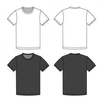 Szablon płaski szkic moda męska koszulka