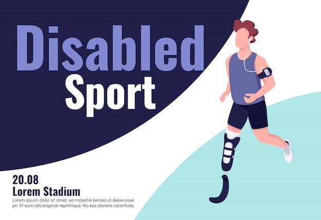 Szablon płaski transparent konkurencji sportowych niepełnosprawnych. broszura, plakat projekt koncepcyjny z postaciami z kreskówek. niepełnosprawny sportowiec trenuje ulotkę poziomą, ulotka z miejscem na tekst
