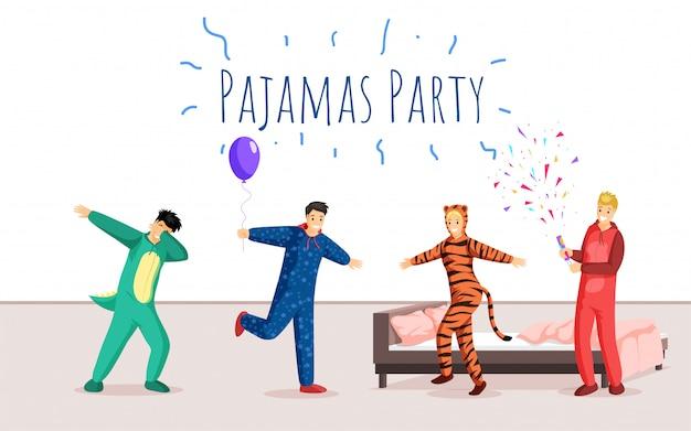 Szablon płaski transparent party piżamy. nocleg, nocleg, projekt plakatu reklamowego imprezy świątecznej. szczęśliwi młodzi ludzie świętuje w śmiesznych piżamach ilustracyjnych z typografią