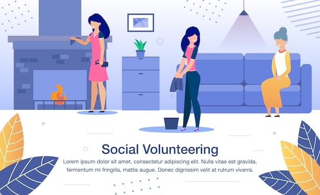 Szablon płaski transparent wolontariatu społecznego