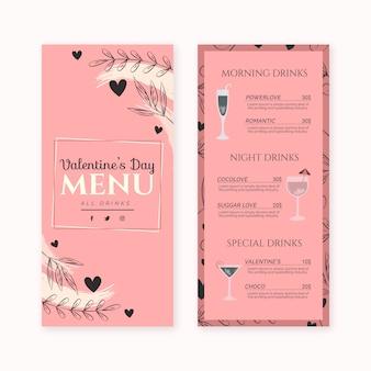 Szablon płaski walentynki menu