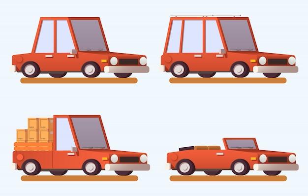 Szablon płaskich samochodów.