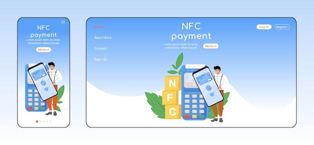 Szablon płaskiego koloru strony docelowej adaptacyjnej płatności nfc. bezkontaktowy układ strony głównej na telefon komórkowy i komputer. interfejs użytkownika jednej strony fintech. projekt strony internetowej aplikacji e-płatności dla wielu platform
