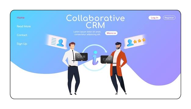 Szablon płaskiego koloru strony docelowej współpracy crm. biznesmeni z układem strony głównej laptopów. informacje o klientach wymieniają jednostronicowy interfejs witryny, postać z kreskówki. baner partnerski, strona internetowa