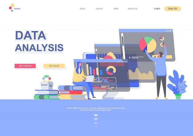 Szablon płaskiej strony docelowej analizy danych. infografiki biznesowe, analityk robi sytuację badań marketingowych. strona internetowa ze znakami osób. ilustracja analityki finansowej i inwestycyjnej.
