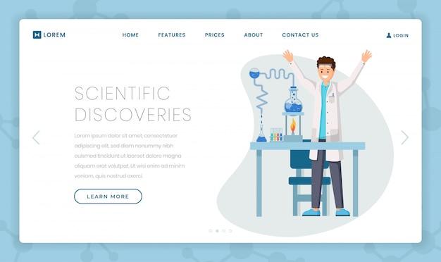 Szablon płaskiej strony docelowej odkryć naukowych