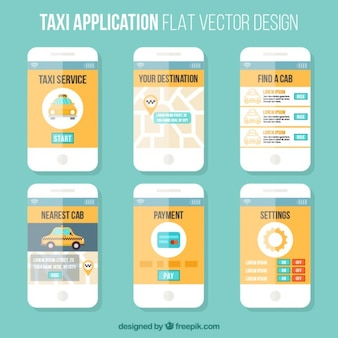Szablon płaskim styl aplikacji mobilnej dla taksówek