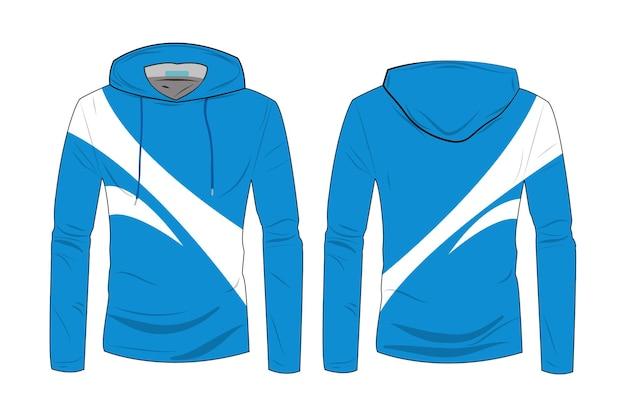 Szablon płaszcza z kapturem. bluza codzienna z bawełną i długim rękawem do uprawiania sportów spacerowych. modna bluza z kapturem technicznym szkicu z widokiem z przodu iz tyłu track.