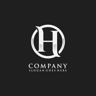 Szablon początkowego logo chromowane litery h.