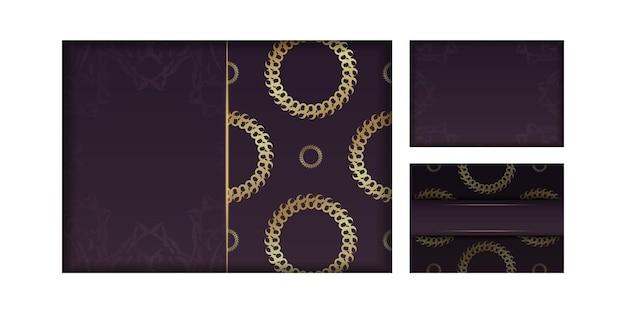 Szablon pocztówki bordowy z abstrakcyjnymi złotymi ornamentami dla twojej marki.
