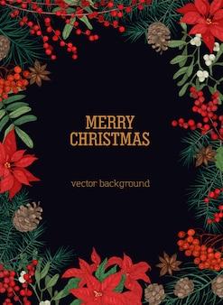 Szablon pocztówki bożonarodzeniowej z życzeniami świątecznymi wewnątrz ramy wykonanej z gałęzi i szyszek sosny i jodły oraz sezonowych roślin zimowych