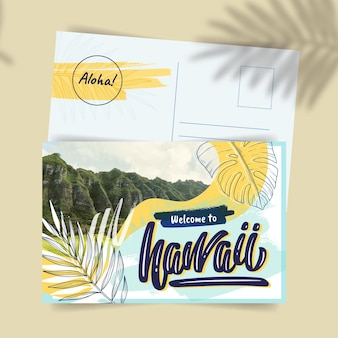 Szablon pocztówki kreatywnych egzotycznych podróży po hawajach