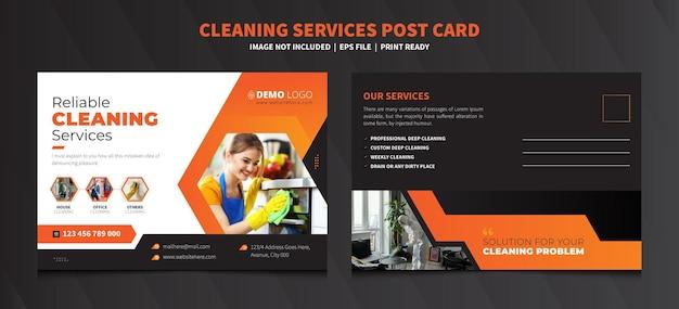 Szablon pocztówki usługi sprzątania