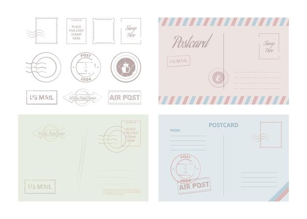 Szablon pocztówki. vintage podróży karty i litery z ilustracji wektorowych ramki i obramowania. list graniczny i pocztówka korespondencyjna, przesyłka pocztowa