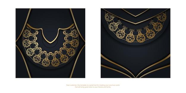 Szablon pocztówki w czarnym kolorze z abstrakcyjnym złotym wzorem dla twojej marki.