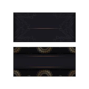 Szablon pocztówki w czarnym kolorze ze złotym indyjskim wzorem