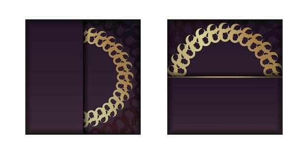 Szablon pocztówki w kolorze bordowym ze złotym ornamentem mandali dla twojej marki.