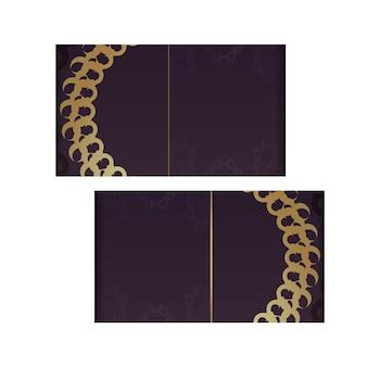 Szablon pocztówki w kolorze bordowym ze złotym wzorem mandali do projektowania.