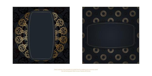 Szablon pocztówki w kolorze czarnym z abstrakcyjnym wzorem złota dla swojego projektu.